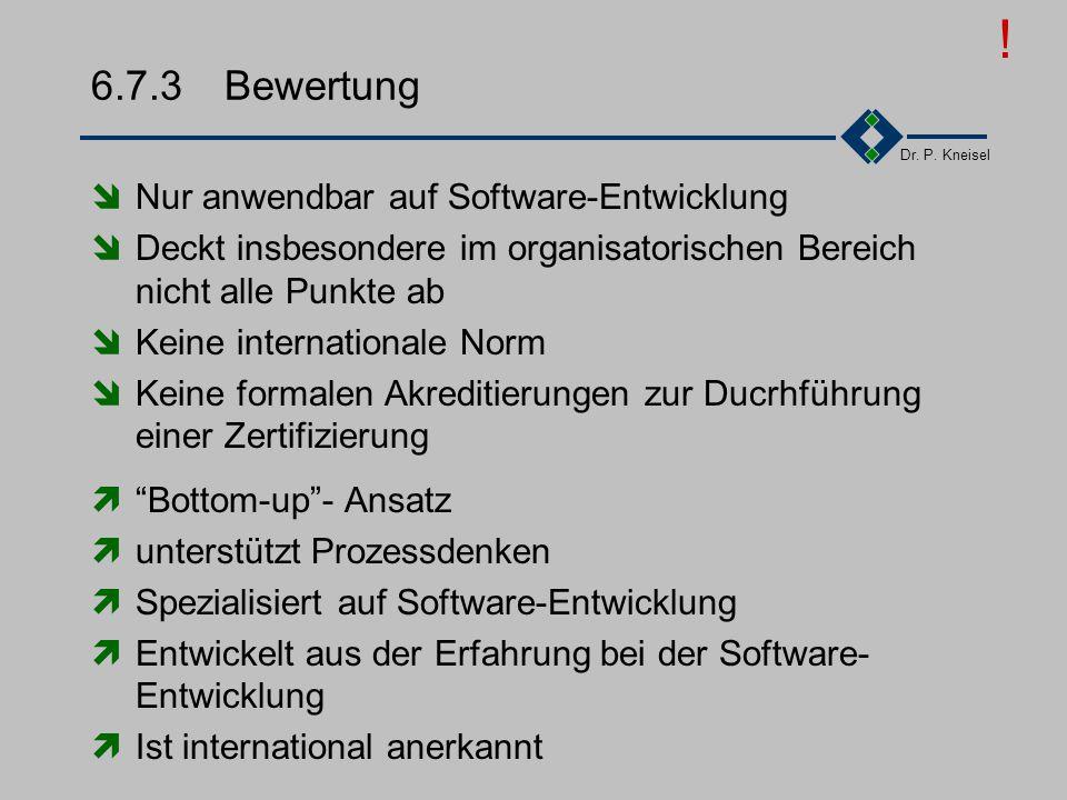! 6.7.3 Bewertung Nur anwendbar auf Software-Entwicklung