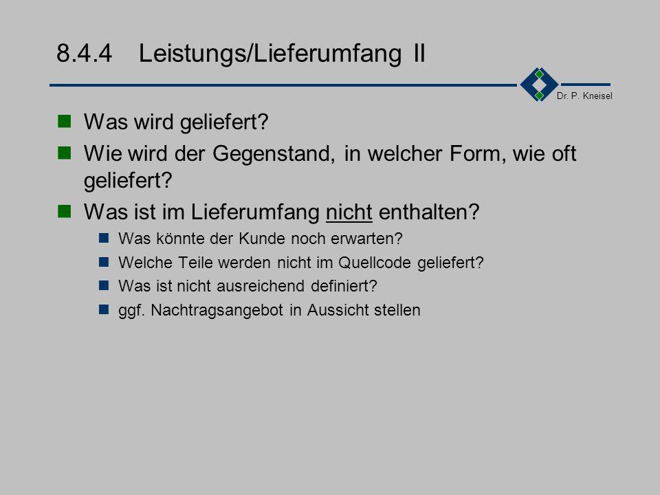 8.4.4 Leistungs/Lieferumfang II