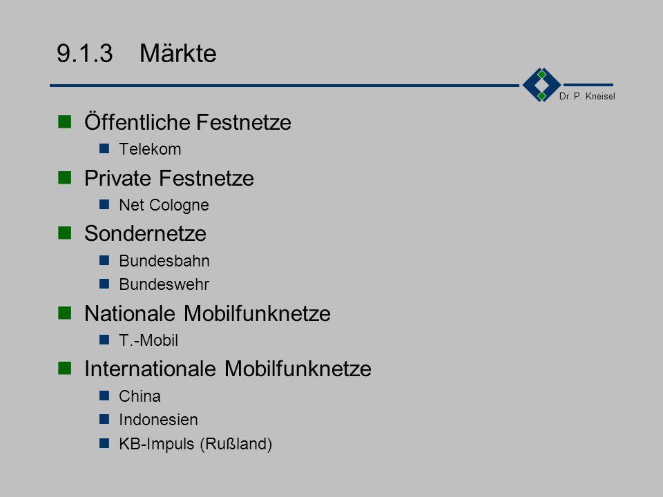 9.1.3 Märkte Öffentliche Festnetze Private Festnetze Sondernetze