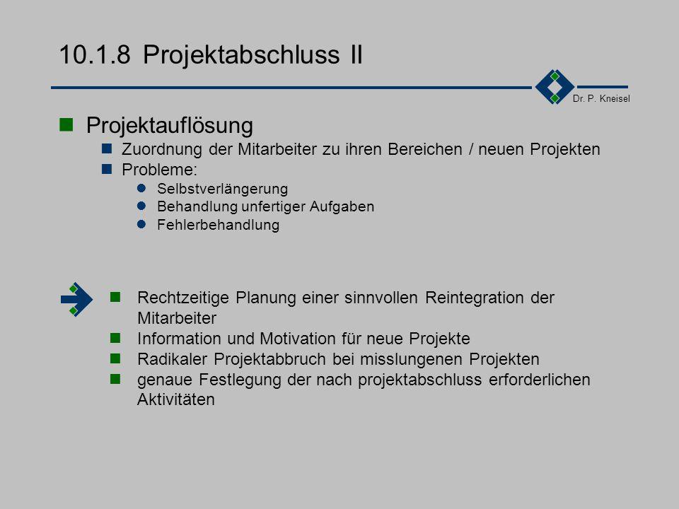 10.1.8 Projektabschluss II Projektauflösung