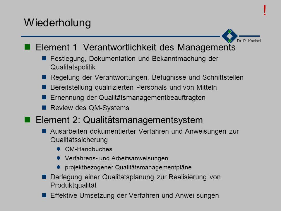 ! Wiederholung Element 1 Verantwortlichkeit des Managements
