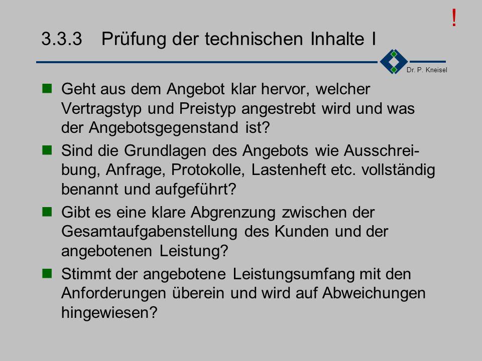 3.3.3 Prüfung der technischen Inhalte I