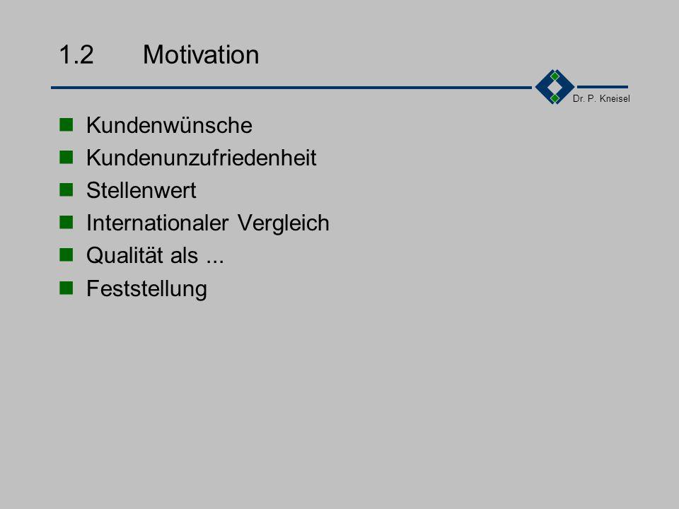 1.2 Motivation Kundenwünsche Kundenunzufriedenheit Stellenwert