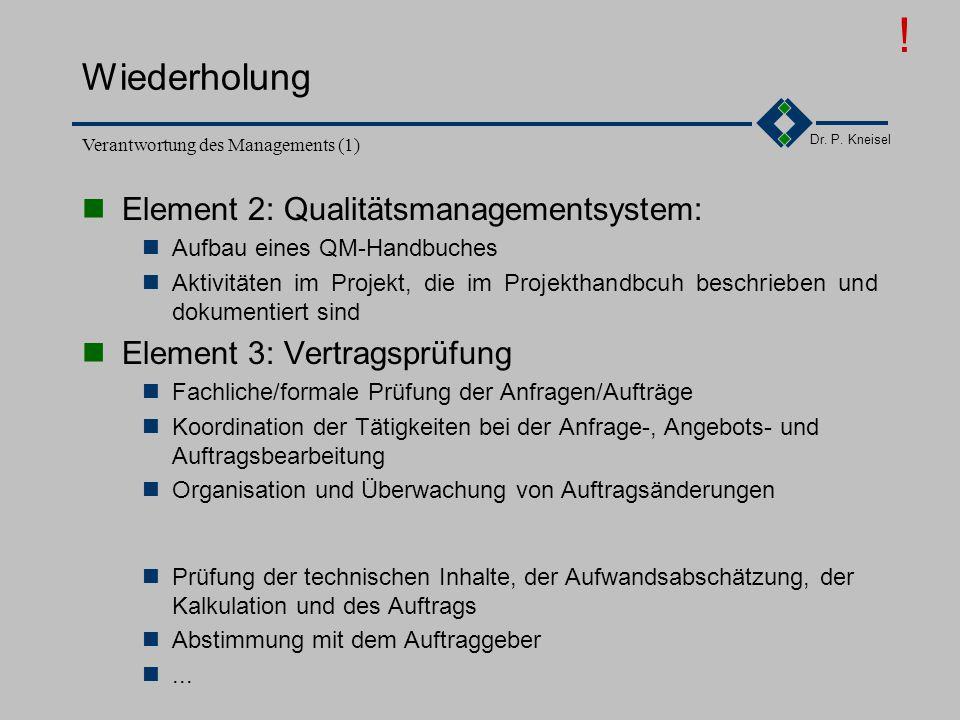 ! Wiederholung Element 2: Qualitätsmanagementsystem: