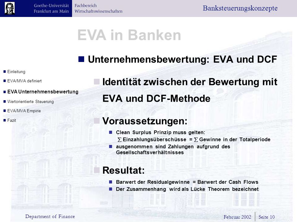 Unternehmensbewertung: EVA und DCF