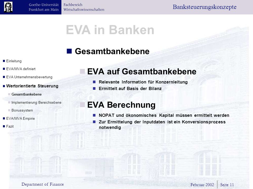EVA auf Gesamtbankebene