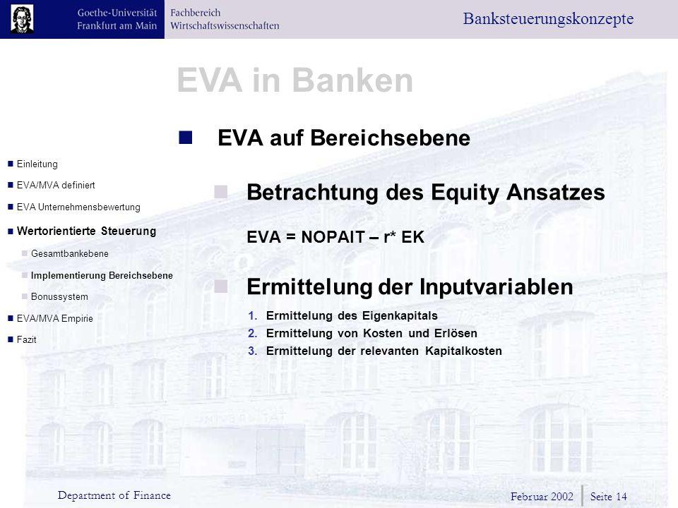Betrachtung des Equity Ansatzes
