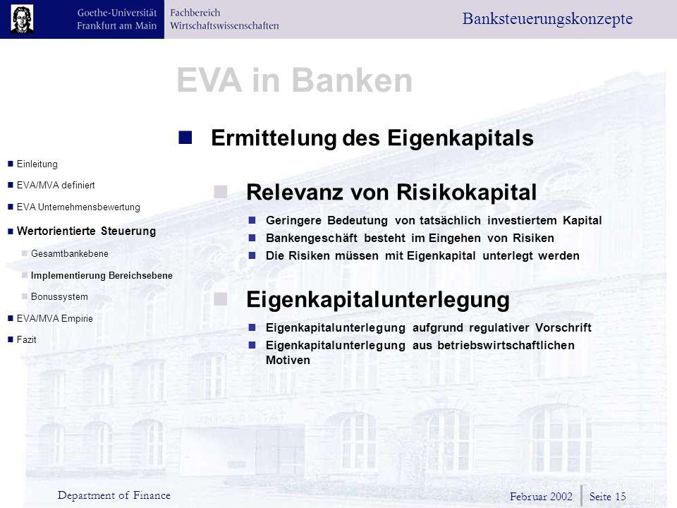 Ermittelung des Eigenkapitals Relevanz von Risikokapital