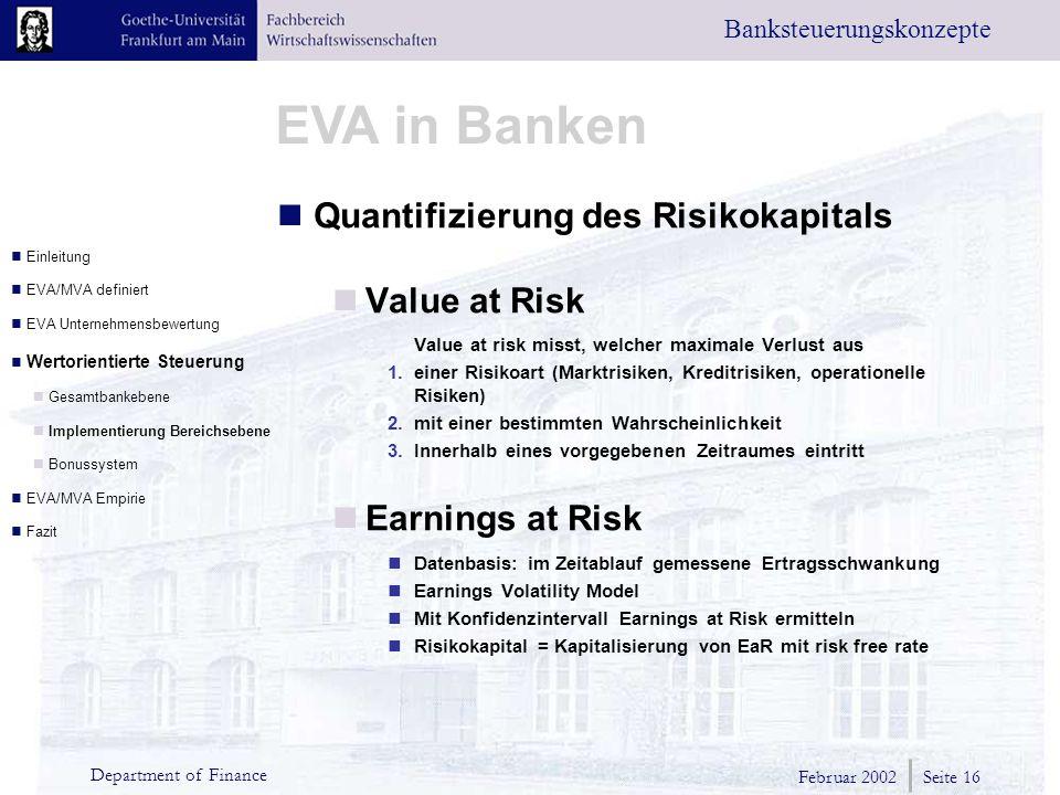 Quantifizierung des Risikokapitals Value at Risk