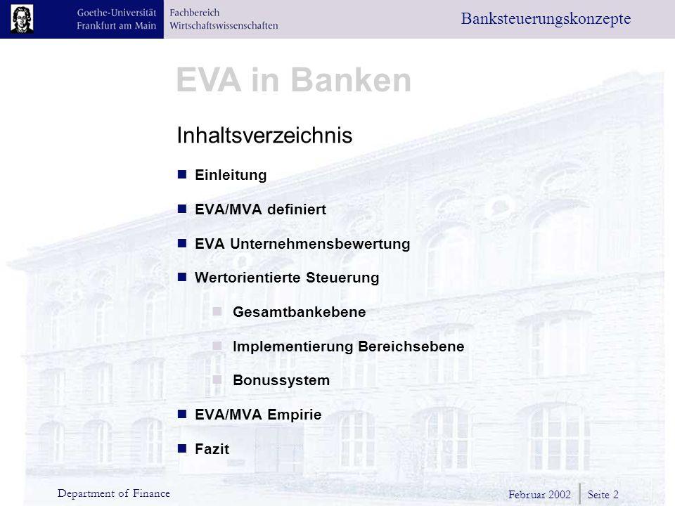 Inhaltsverzeichnis Einleitung EVA/MVA definiert