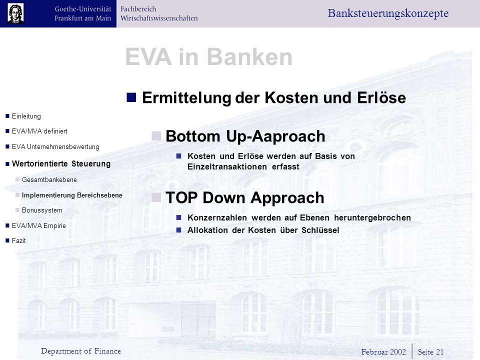 Ermittelung der Kosten und Erlöse Bottom Up-Aaproach
