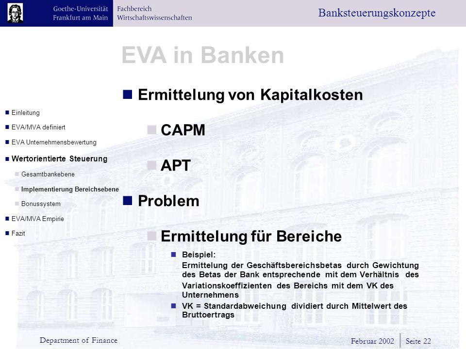 Ermittelung von Kapitalkosten CAPM APT Problem