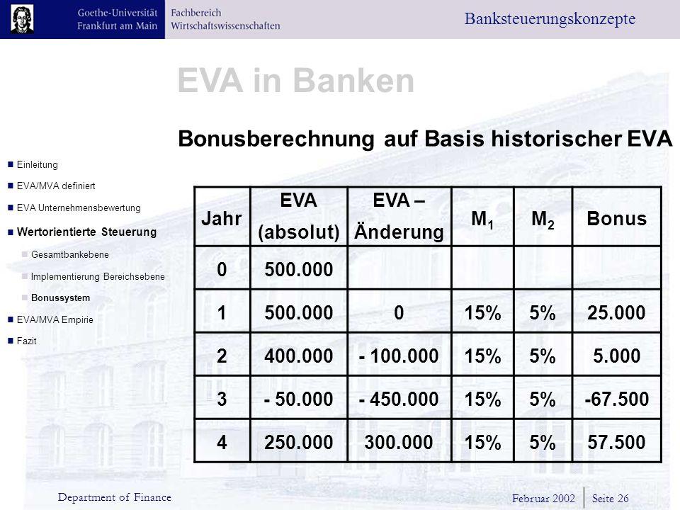 Bonusberechnung auf Basis historischer EVA
