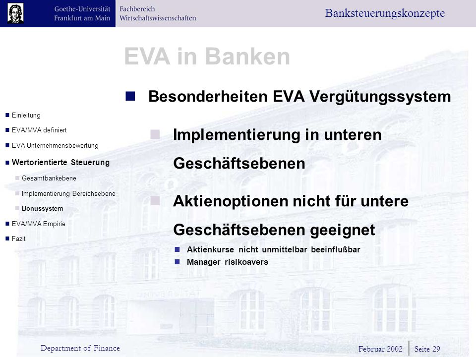 Besonderheiten EVA Vergütungssystem