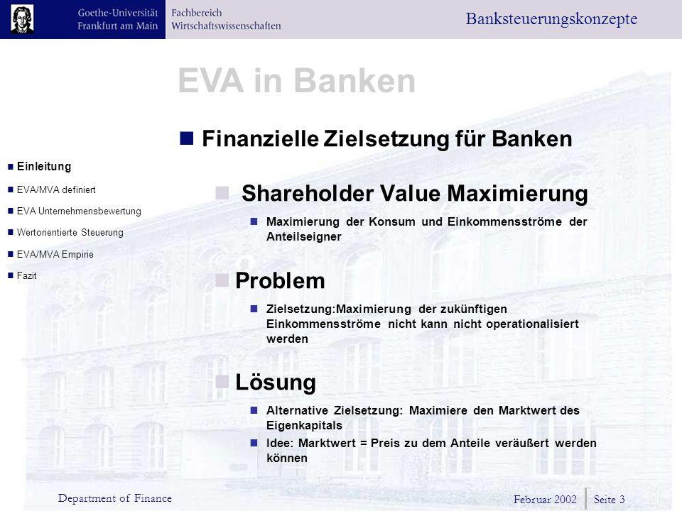 Finanzielle Zielsetzung für Banken Shareholder Value Maximierung
