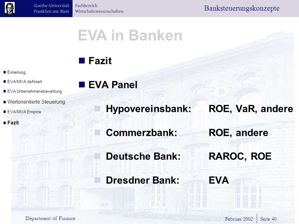 Hypovereinsbank: ROE, VaR, andere Commerzbank: ROE, andere