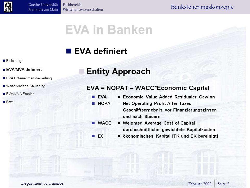 EVA definiert Entity Approach EVA = NOPAT – WACC*Economic Capital