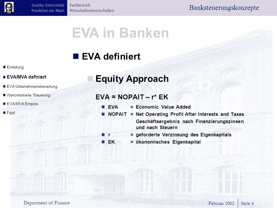 EVA definiert Equity Approach EVA = NOPAIT – r* EK