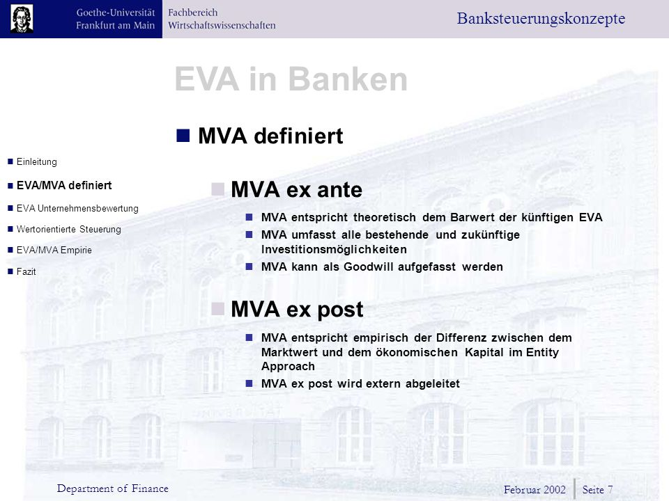 MVA definiert MVA ex ante MVA ex post