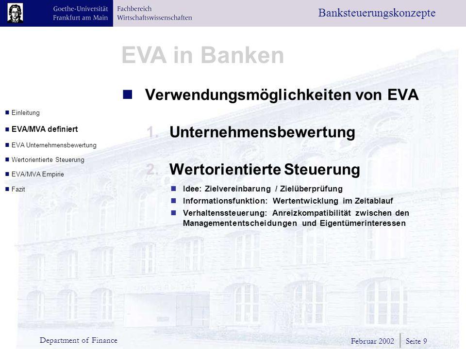 Verwendungsmöglichkeiten von EVA Unternehmensbewertung