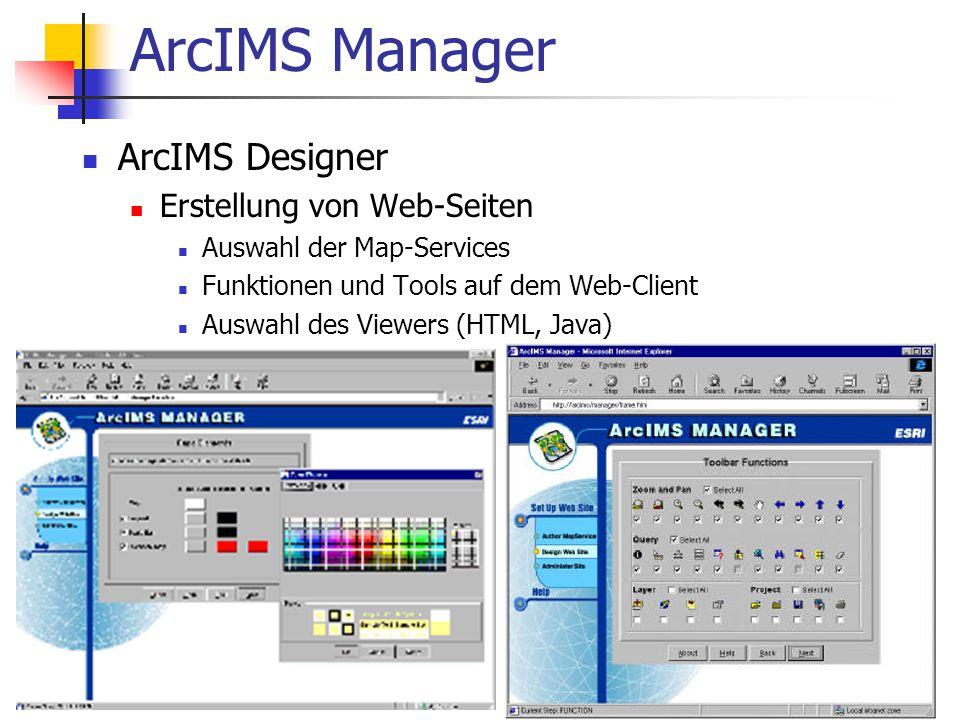 ArcIMS Manager ArcIMS Designer Erstellung von Web-Seiten