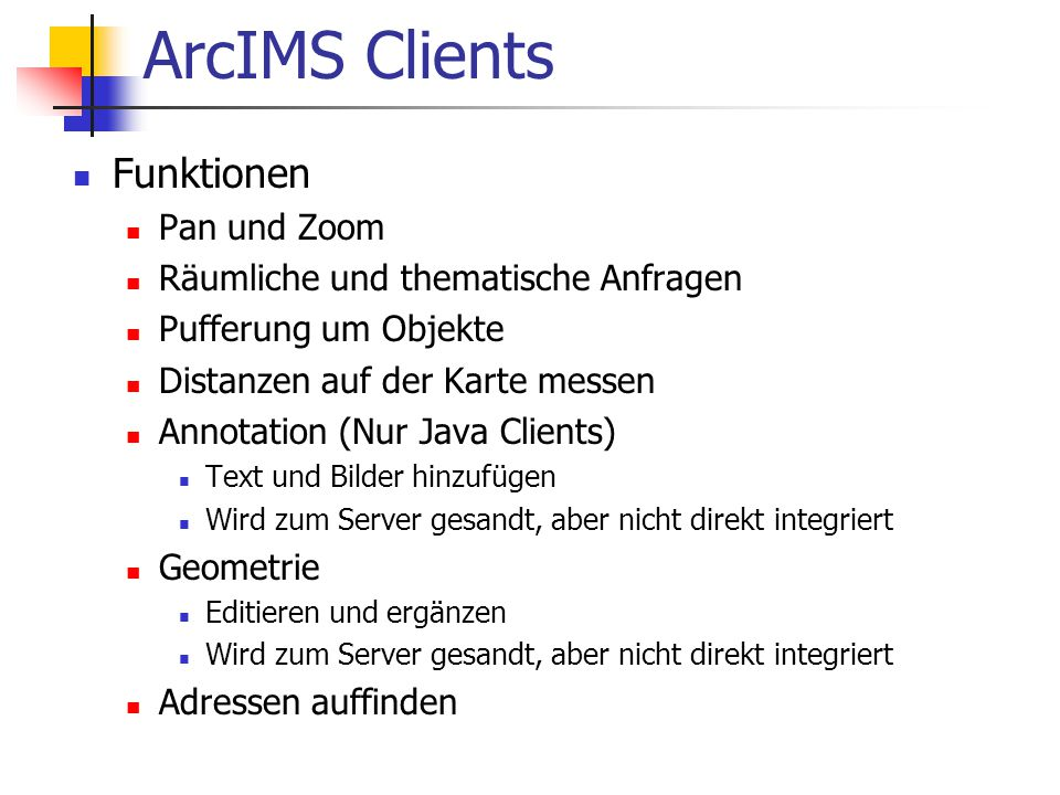 ArcIMS Clients Funktionen Pan und Zoom