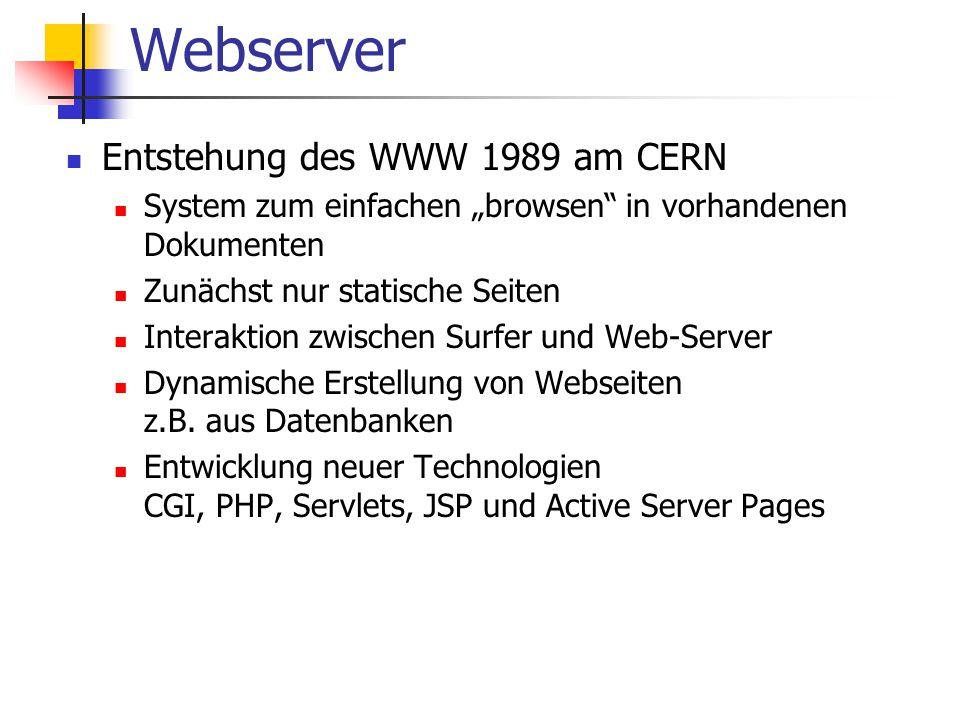 Webserver Entstehung des WWW 1989 am CERN