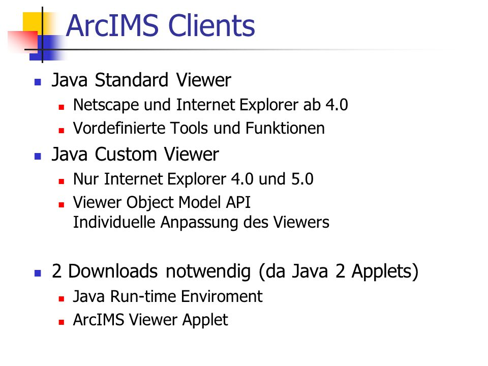 ArcIMS Clients Java Standard Viewer Java Custom Viewer