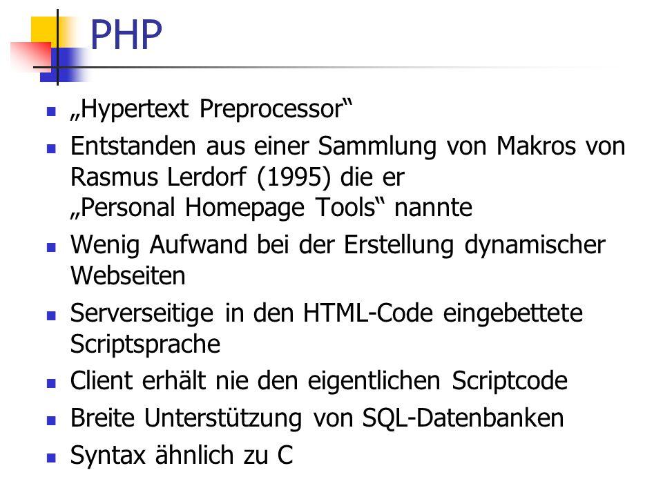 "PHP ""Hypertext Preprocessor"