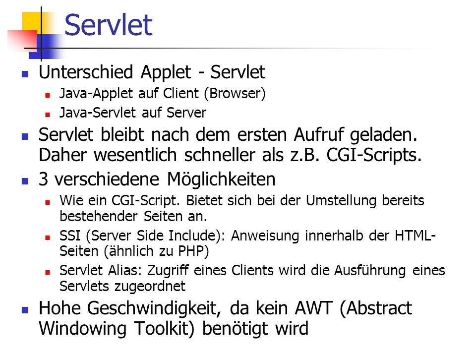 Servlet Unterschied Applet - Servlet