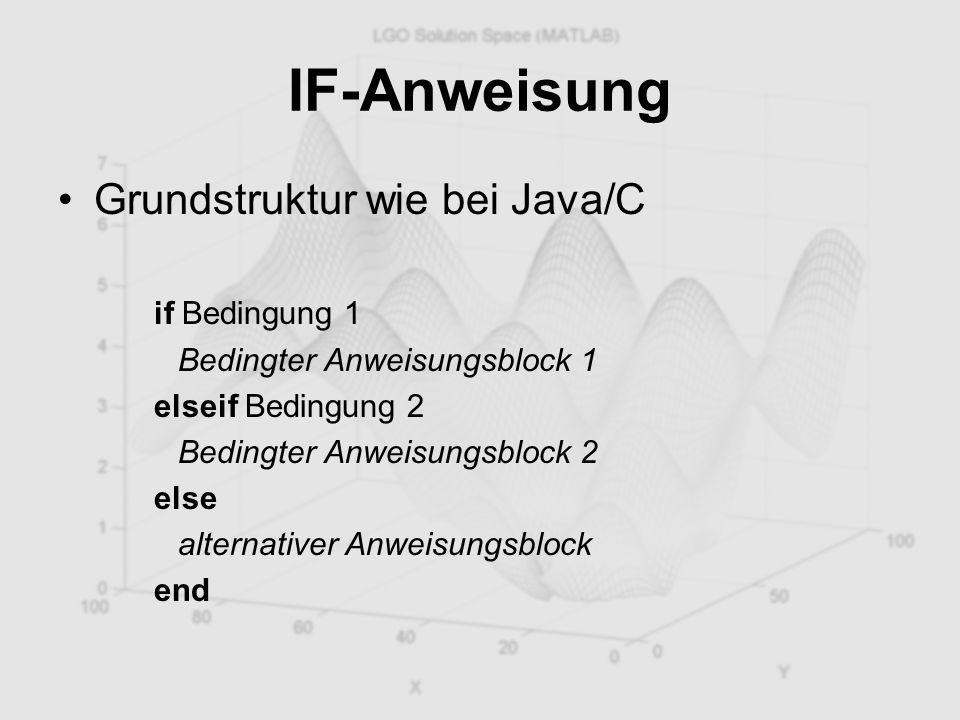 IF-Anweisung Grundstruktur wie bei Java/C if Bedingung 1