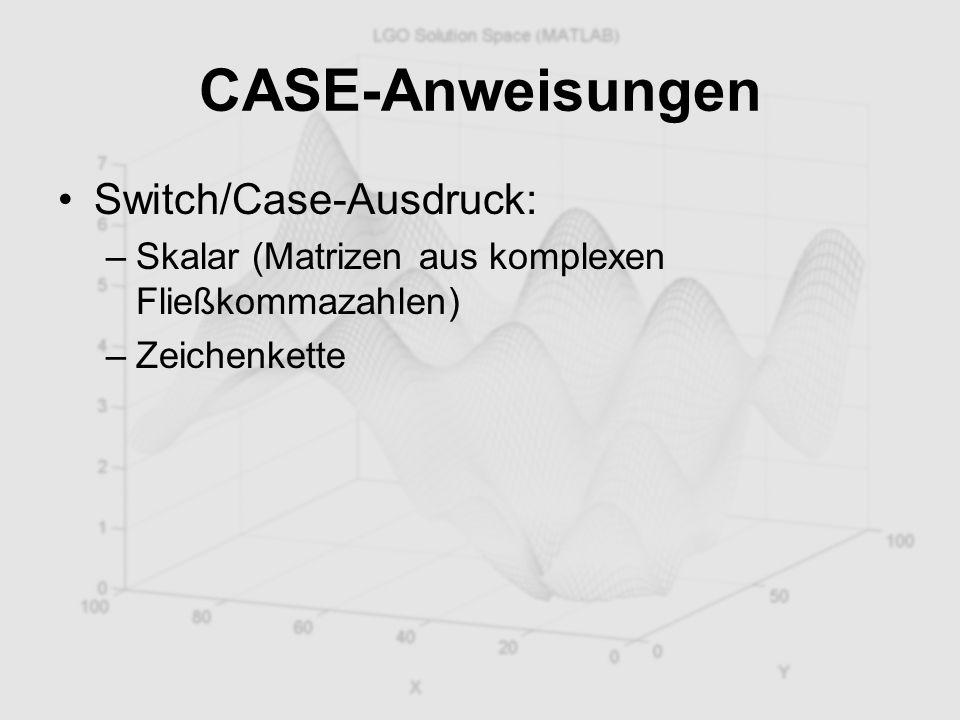 CASE-Anweisungen Switch/Case-Ausdruck: