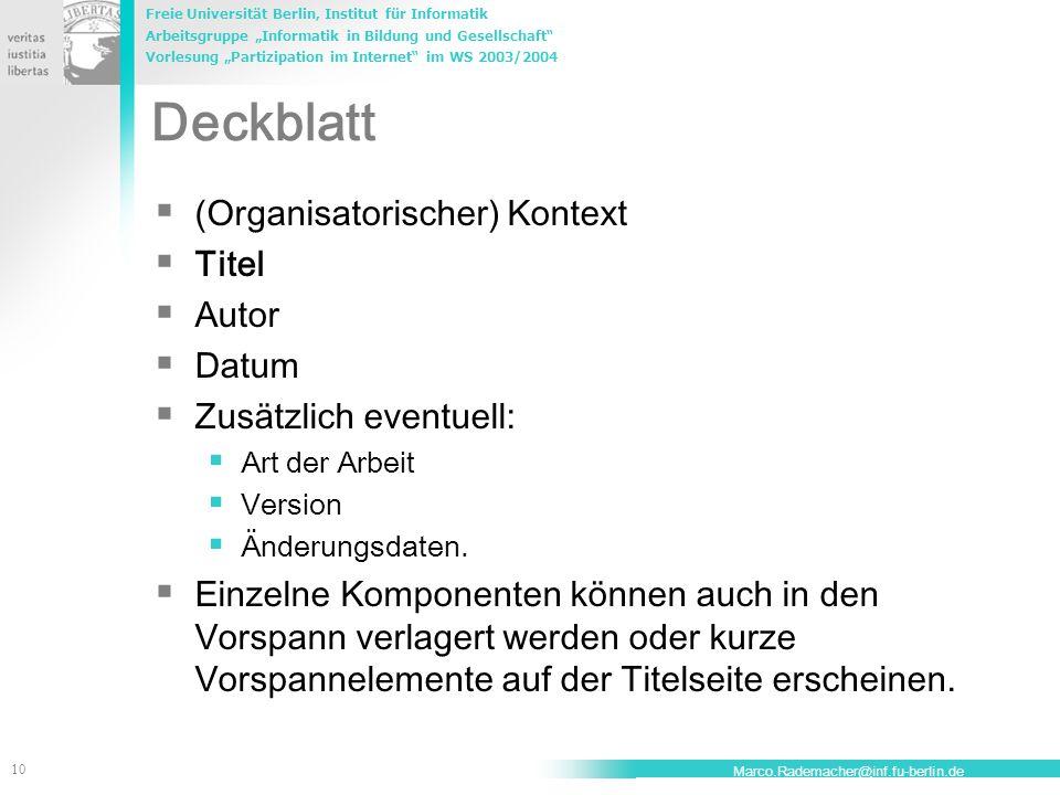 Deckblatt (Organisatorischer) Kontext Titel Autor Datum
