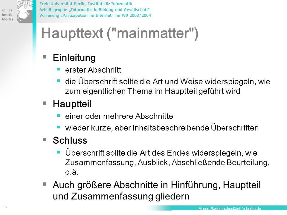 Haupttext ( mainmatter )