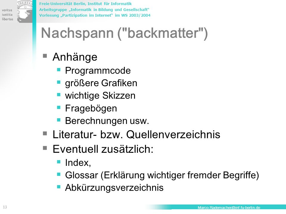 Nachspann ( backmatter )
