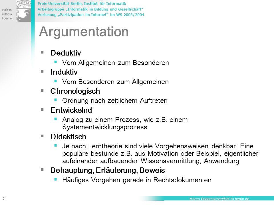 Argumentation Deduktiv Induktiv Chronologisch Entwickelnd Didaktisch