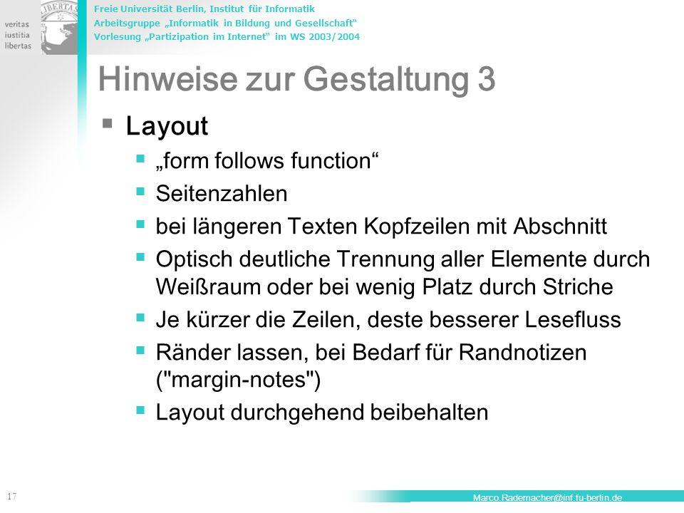 Hinweise zur Gestaltung 3