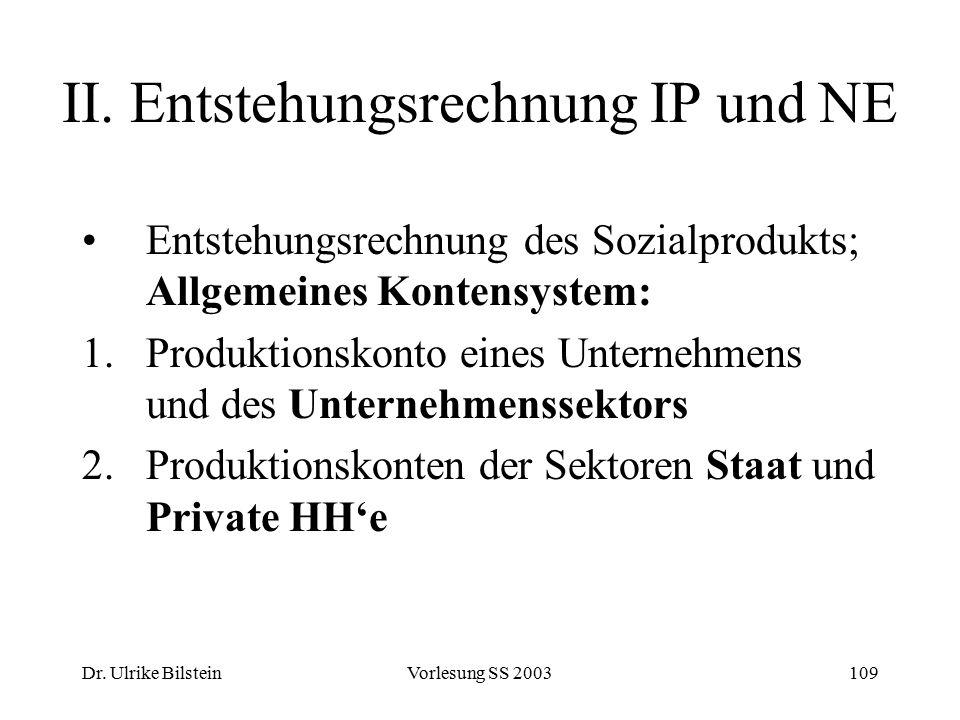 II. Entstehungsrechnung IP und NE