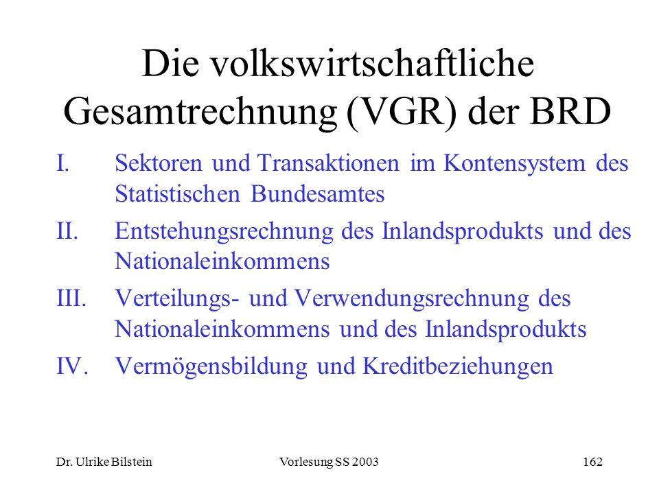 Die volkswirtschaftliche Gesamtrechnung (VGR) der BRD