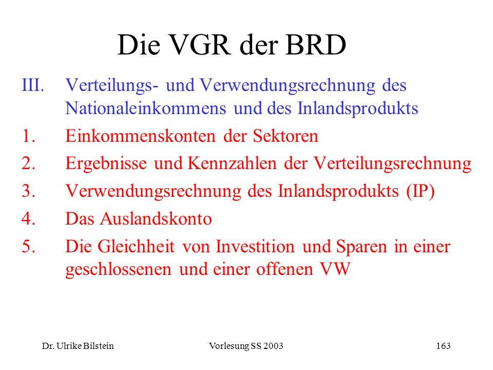 Die VGR der BRD Verteilungs- und Verwendungsrechnung des Nationaleinkommens und des Inlandsprodukts.