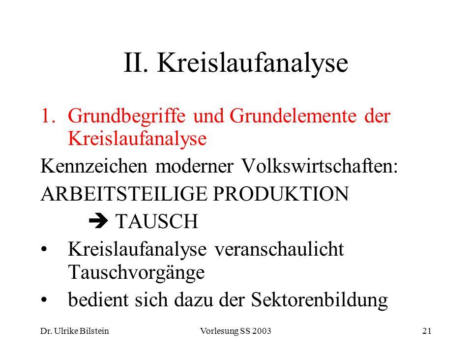 II. Kreislaufanalyse Grundbegriffe und Grundelemente der Kreislaufanalyse. Kennzeichen moderner Volkswirtschaften: