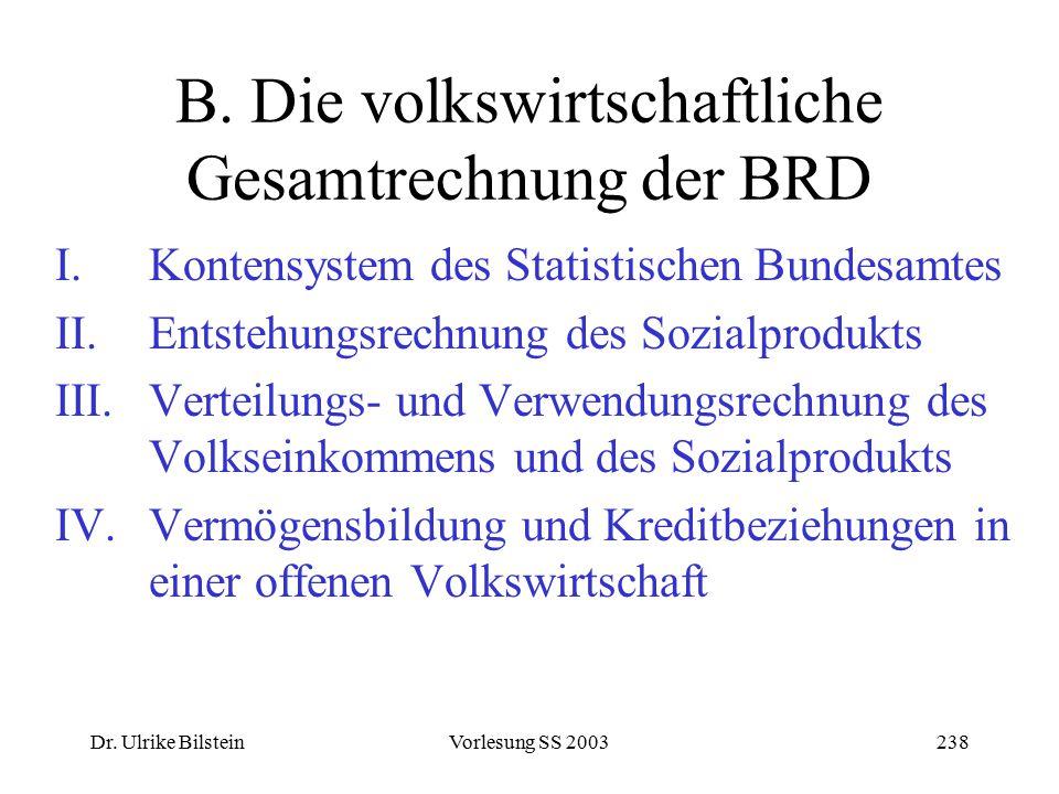 B. Die volkswirtschaftliche Gesamtrechnung der BRD
