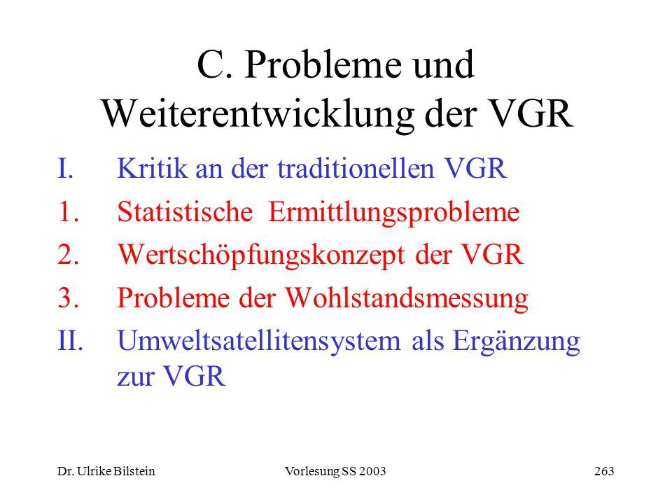 C. Probleme und Weiterentwicklung der VGR