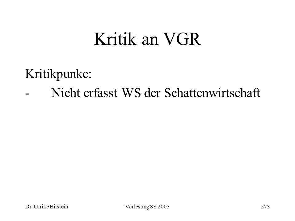 Kritik an VGR Kritikpunke: Nicht erfasst WS der Schattenwirtschaft