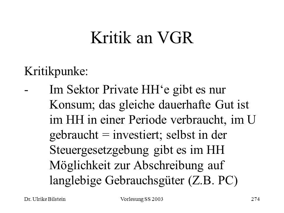 Kritik an VGR Kritikpunke: