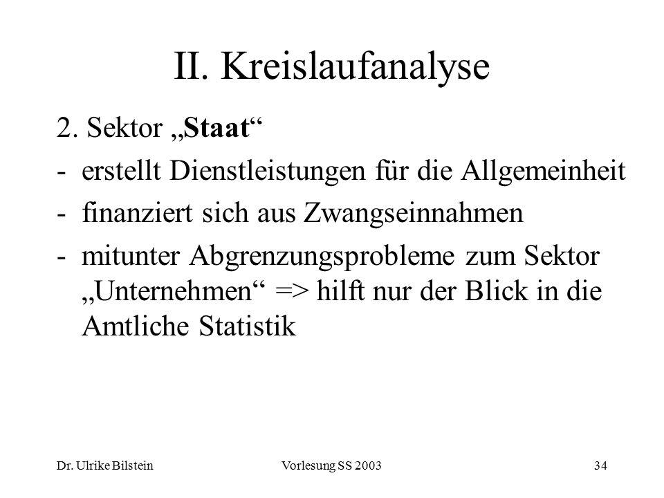 "II. Kreislaufanalyse 2. Sektor ""Staat"