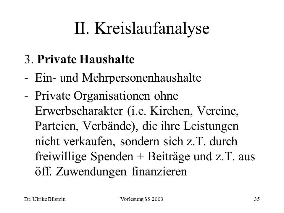II. Kreislaufanalyse 3. Private Haushalte