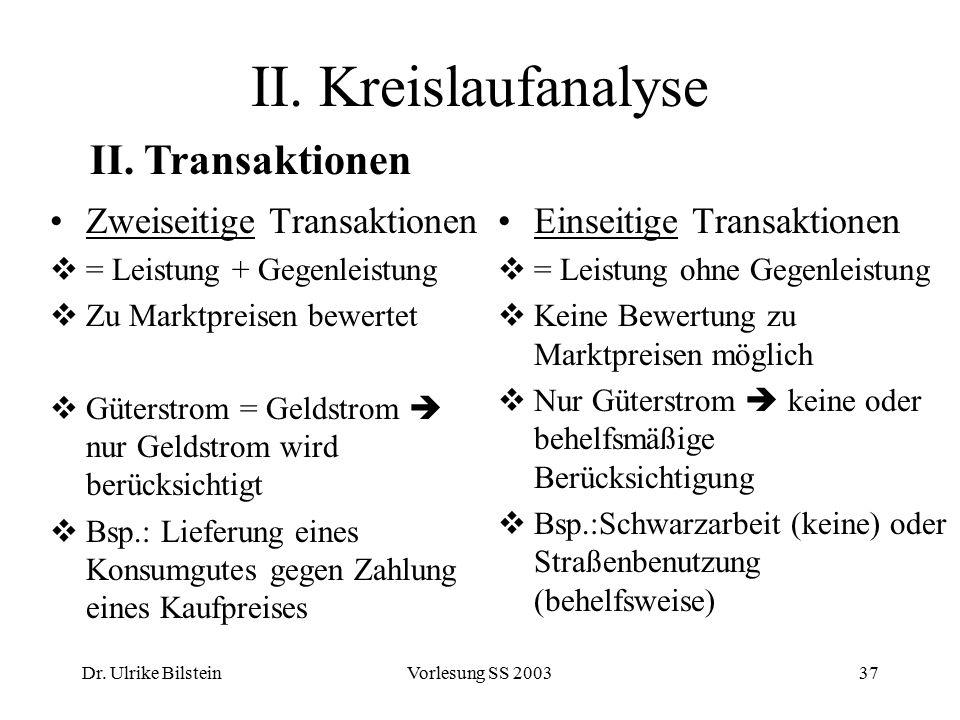 II. Kreislaufanalyse II. Transaktionen Zweiseitige Transaktionen