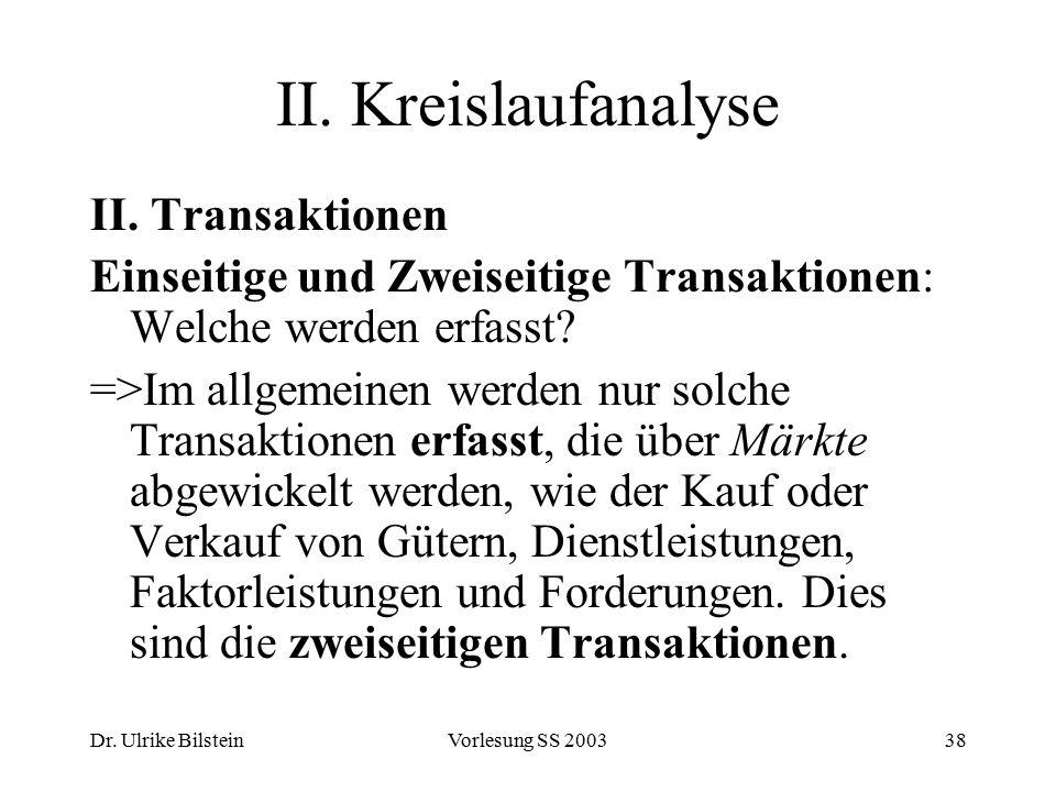 II. Kreislaufanalyse II. Transaktionen