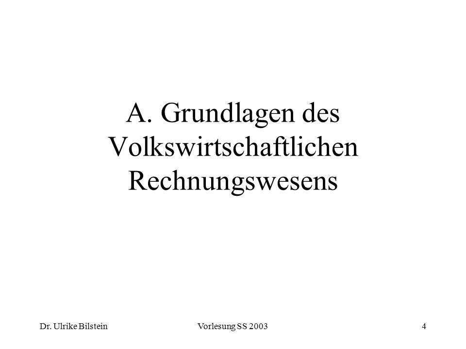 A. Grundlagen des Volkswirtschaftlichen Rechnungswesens